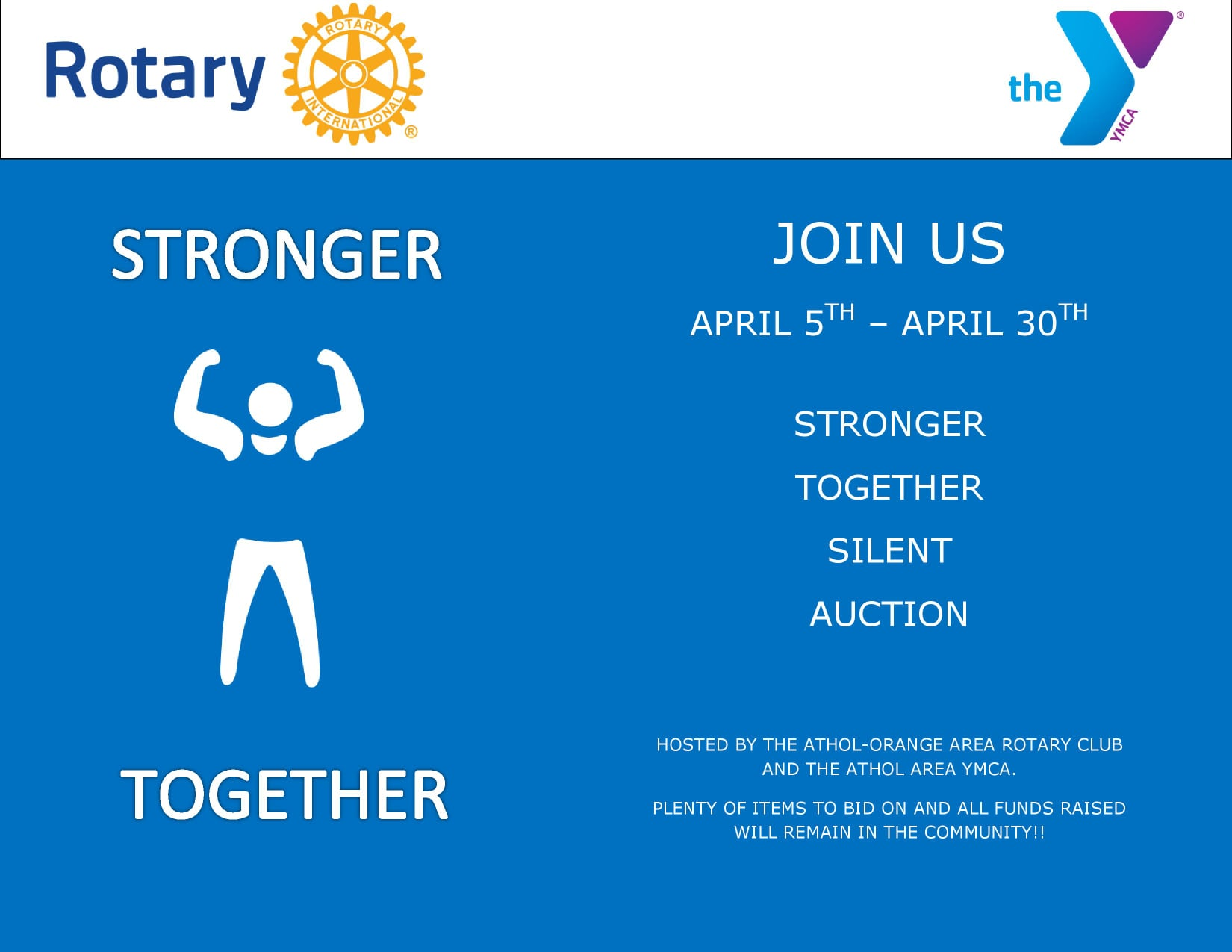 Stronger Together Auction co-hosted with the Athol-Orange Rotary Club